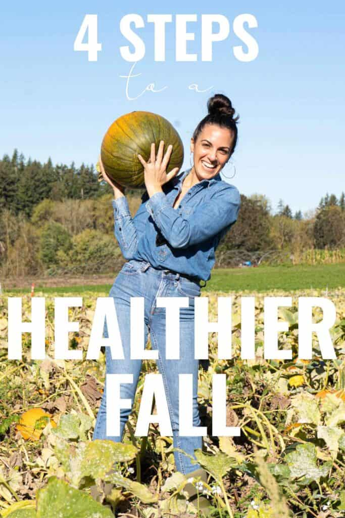 Woman holding a pumpkin in a pumpkin patch with title text.