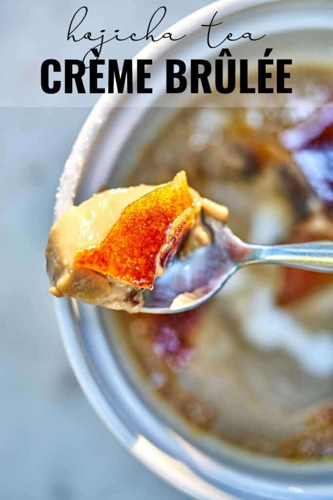 Top view of creme brulee on a spoon resting on a ramekin with title text.