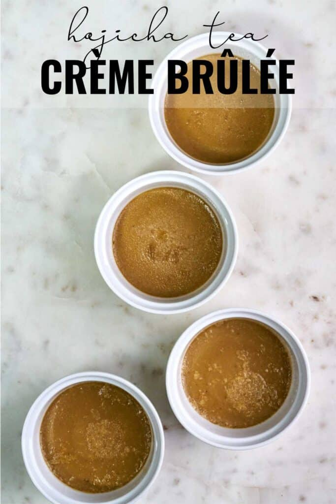 Four cooked creme brulee ramekins with title text.