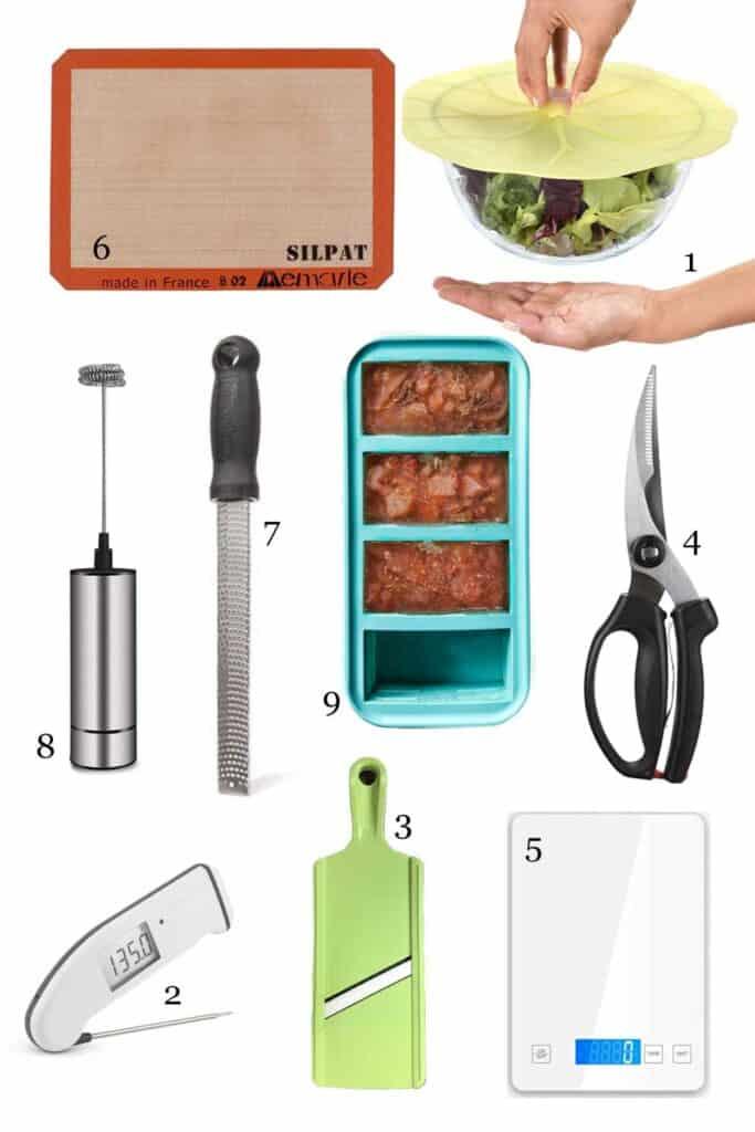 Flatlay of 9 kitchen gadgets.