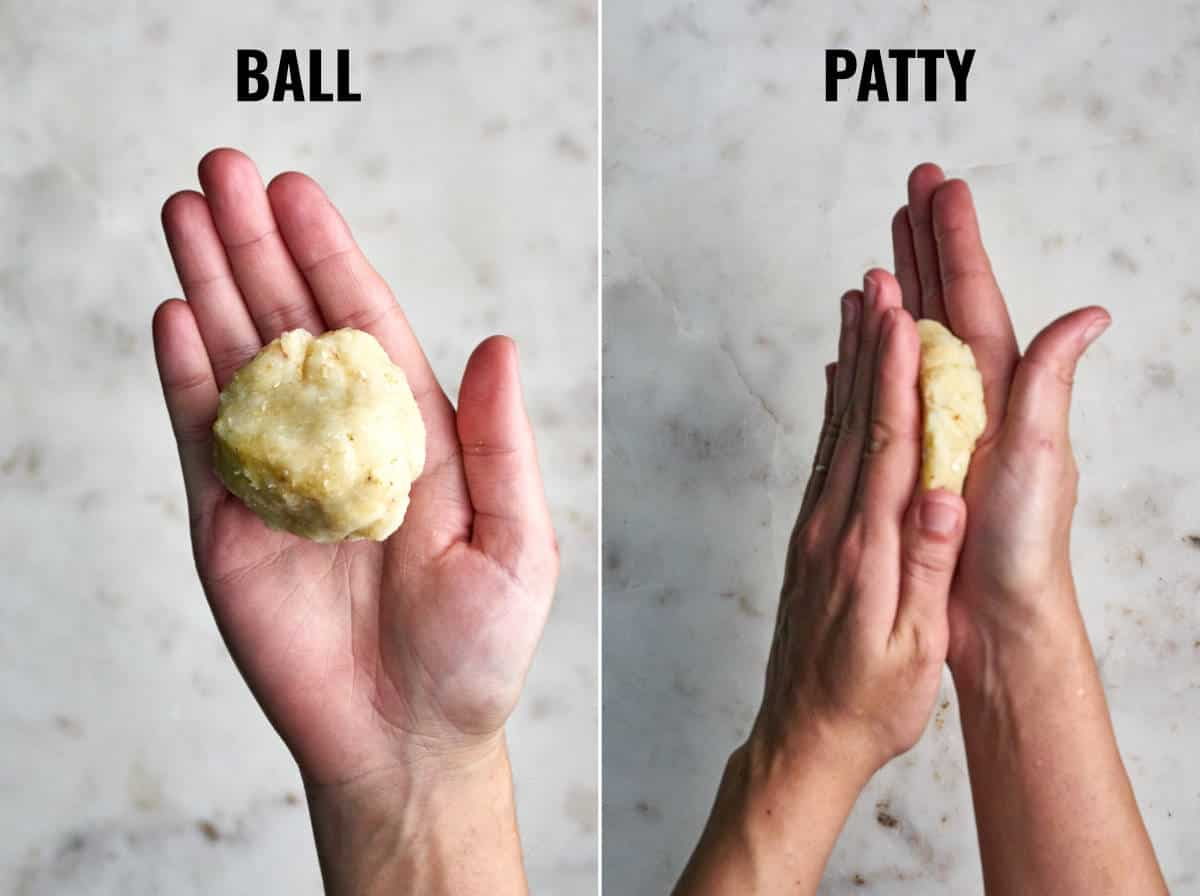 A ball of potato mixture in a hand and then two hands flattening it into a patty.