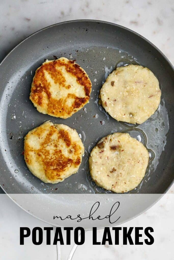 Four latkes in a fry pan with title text.