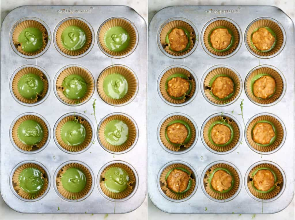 Cupcake tin with matcha white chocolate next to a muffin tin with peanut butter.