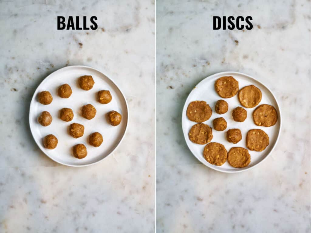 Peanut butter rolled into balls and then flattened into discs on a white plate.