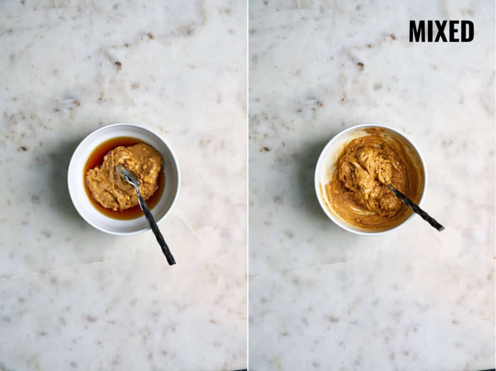 Peanut butter and maple syrup mixed together in a bowl.