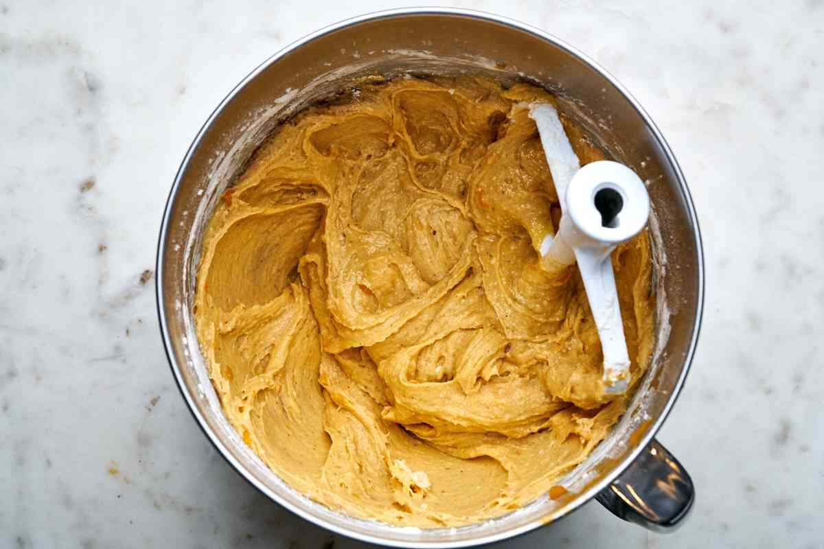 Batter in a mixing bowl.