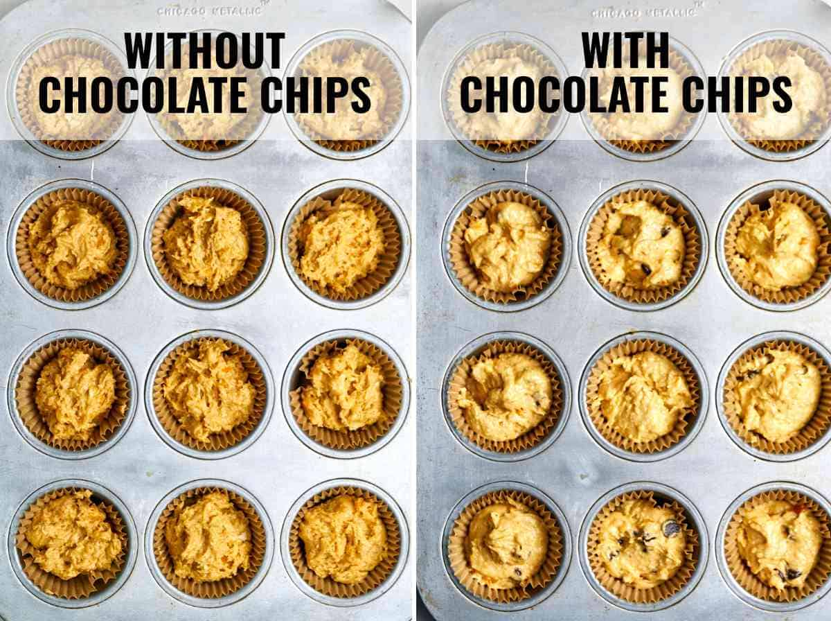Muffin tins filled with batter.
