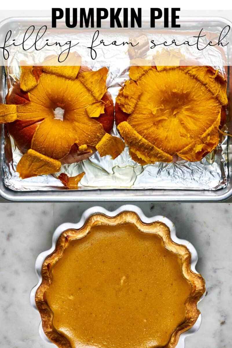 Peeled roasted pumpkin next to a pumpkin pie with title text.