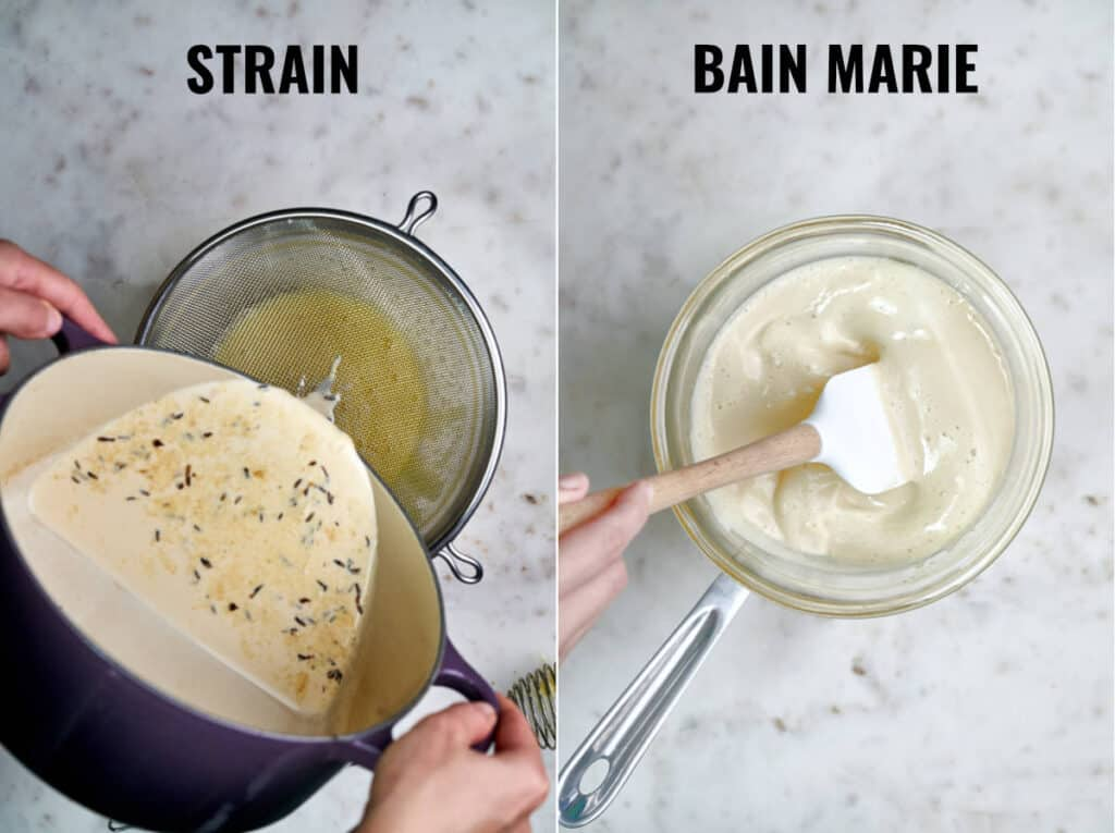 Straining custard and putting it over a bain marie.
