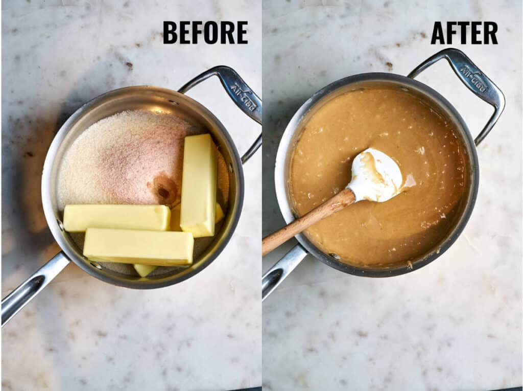 Melting butter and sugar in a pot and cooking to the consistency of melted toffee.