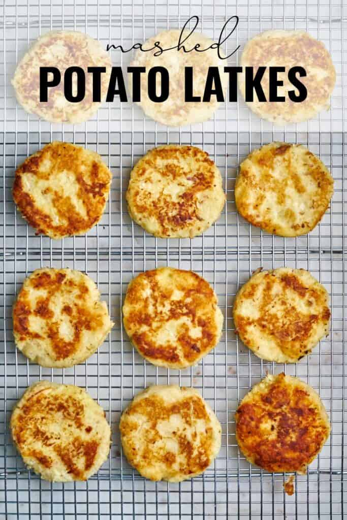 Twelve latkes on a wire rack with title text.