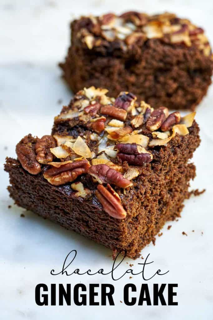 Two slices of brown cake topped with nuts and coconut with title text.