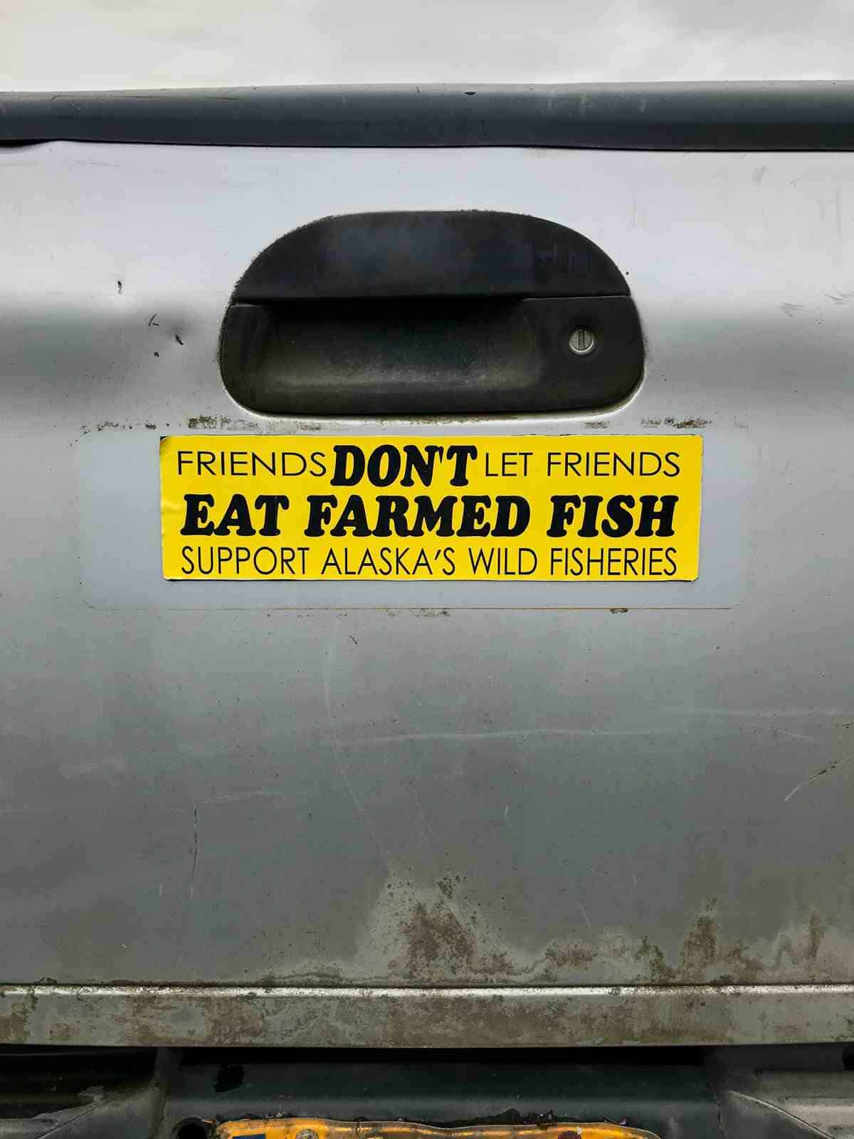 Bumper sticker on the back of a truck.