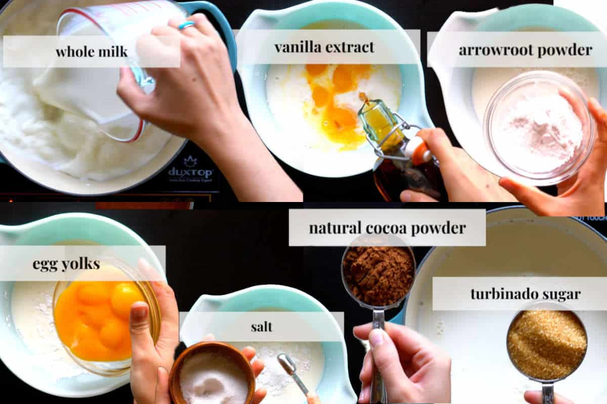 Ingredients for chocolate pudding.