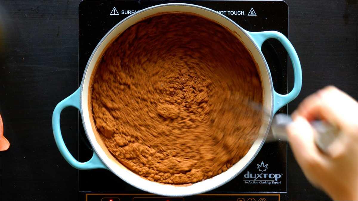 Cocoa powder mixture in pot.