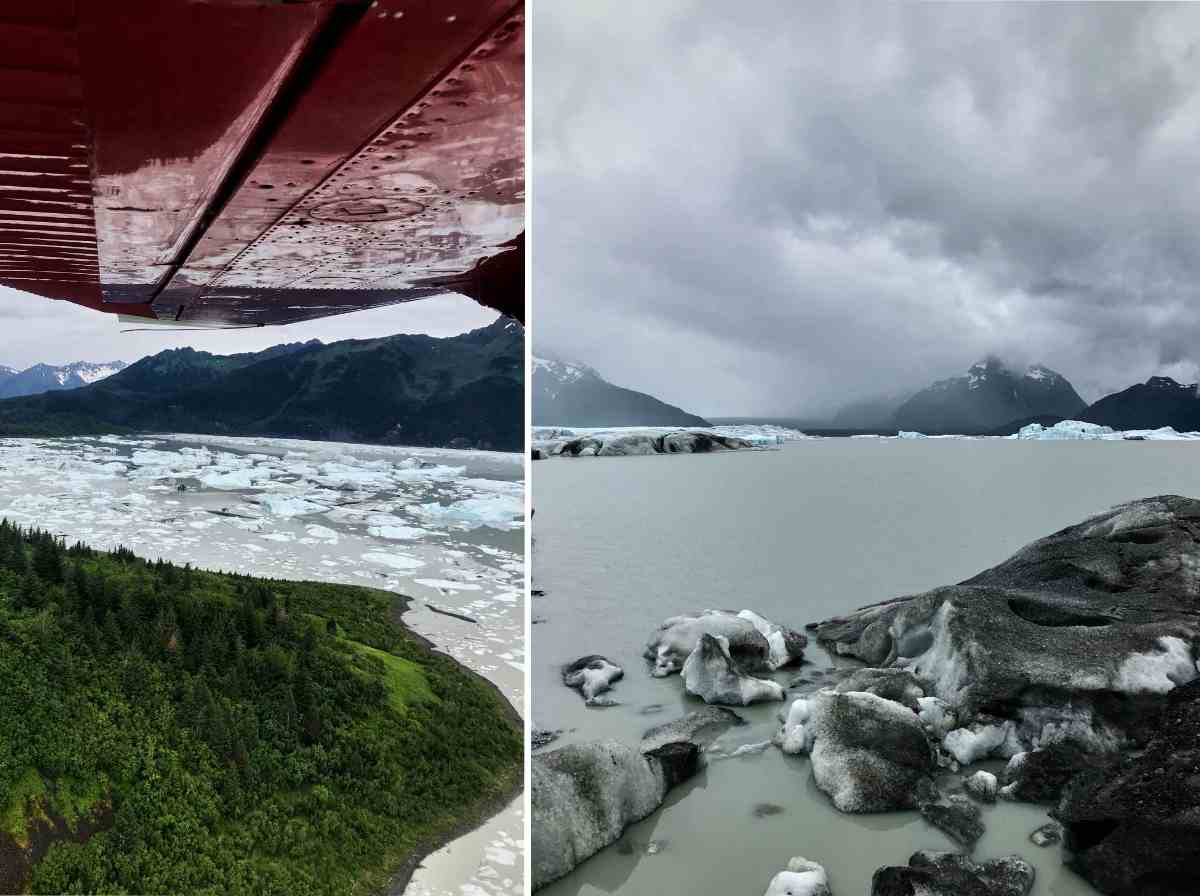 Glaciers and glacial water from a sea plane.