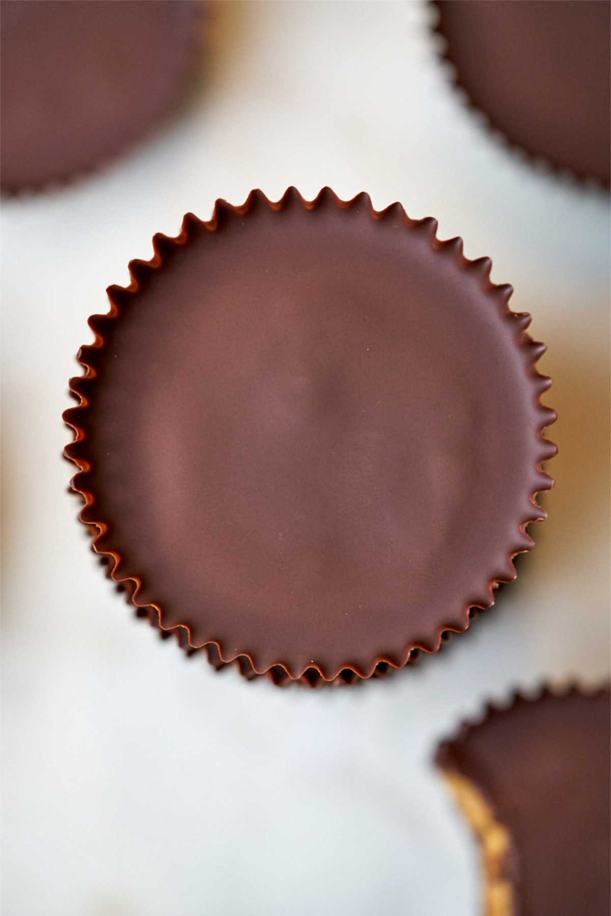 Close up of one peanut butter cup.