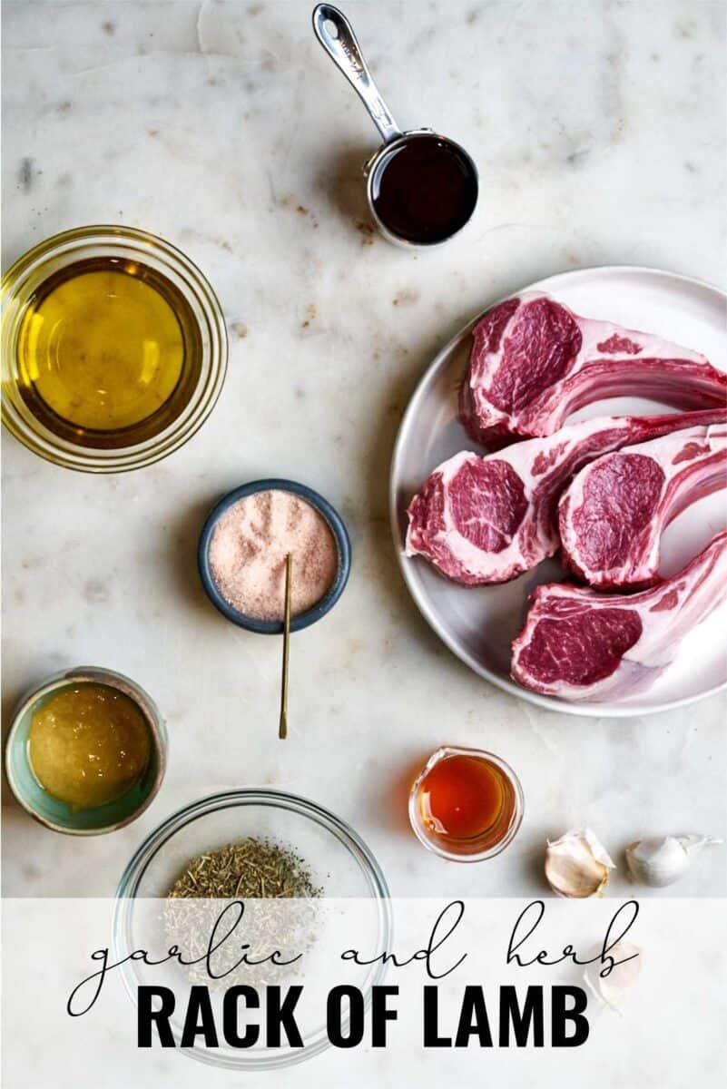 Ingredients to make rack of lamb.