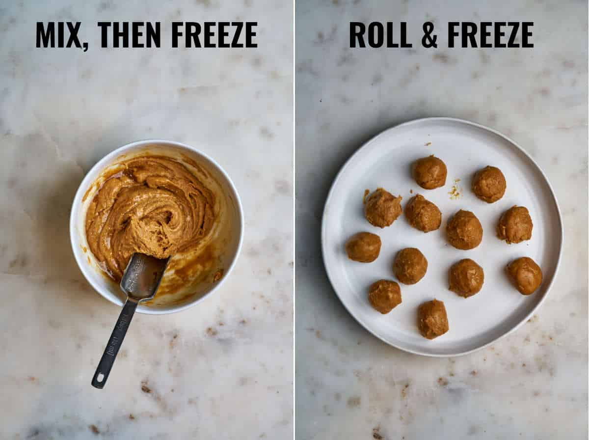 Panut butter in a bowl and rolled into balls.
