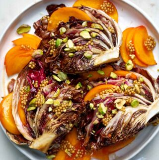 Roasted radicchio with persimmon.