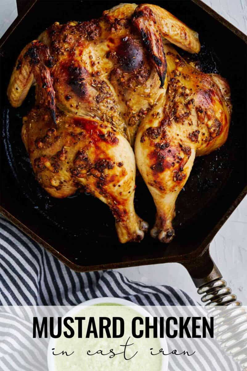 Cooked whole chicken in a cast iron pan.