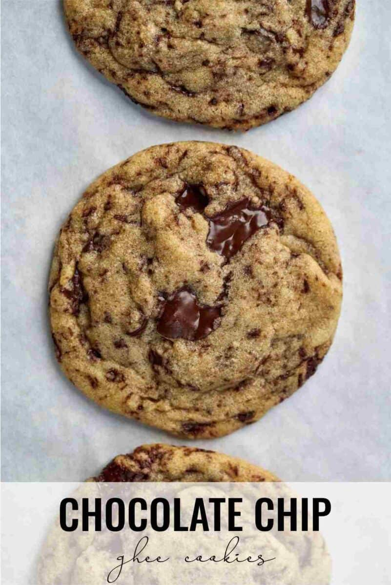 Three cookies on parchment.