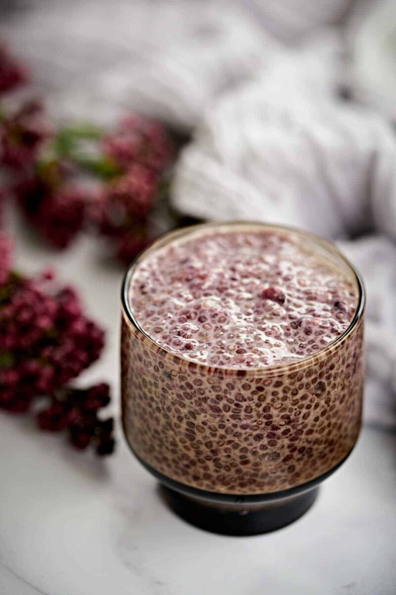Cup of purple chia pudding.