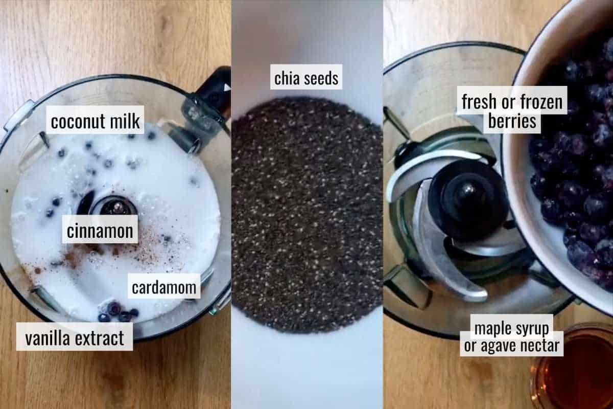 Ingredients to make chia pudding.
