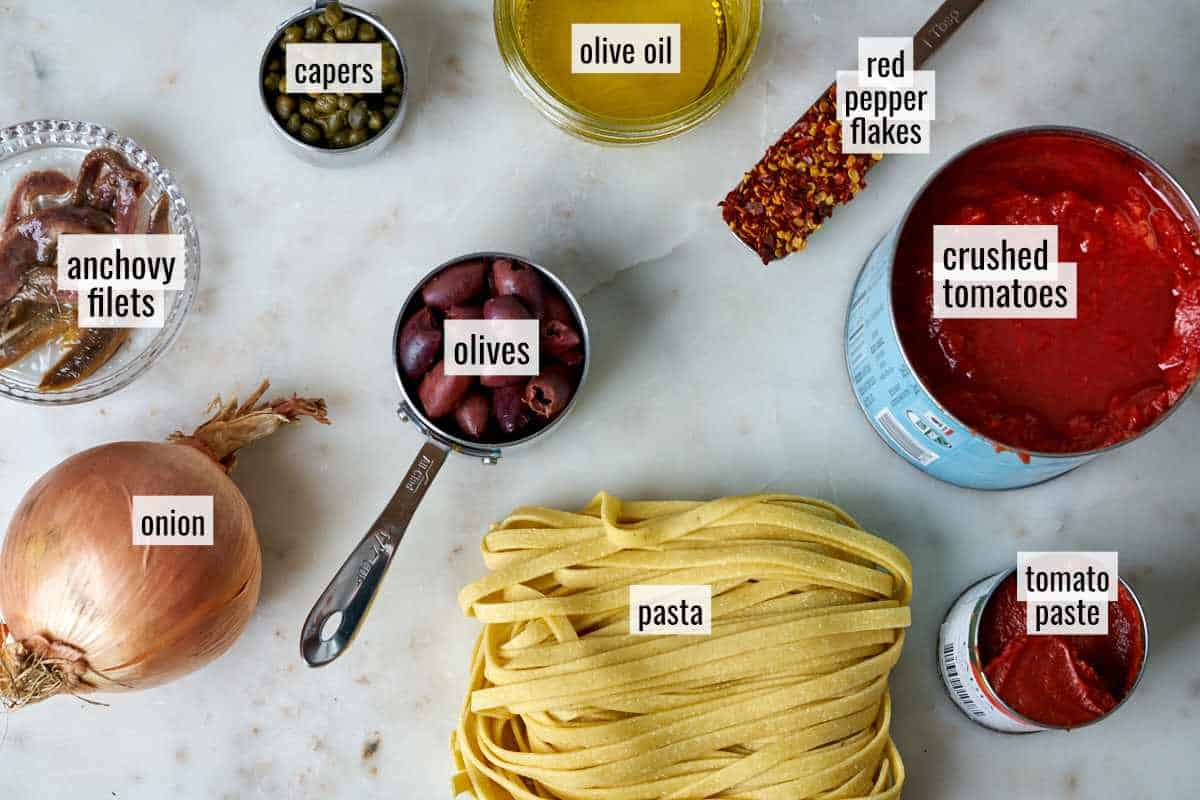 Ingredients for homemade pasta with sauce.