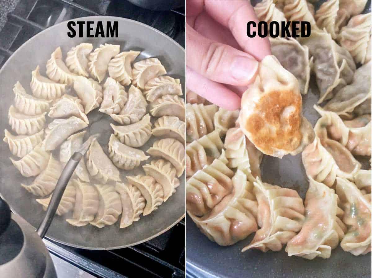Dumplings in a pan with crispy bottom.