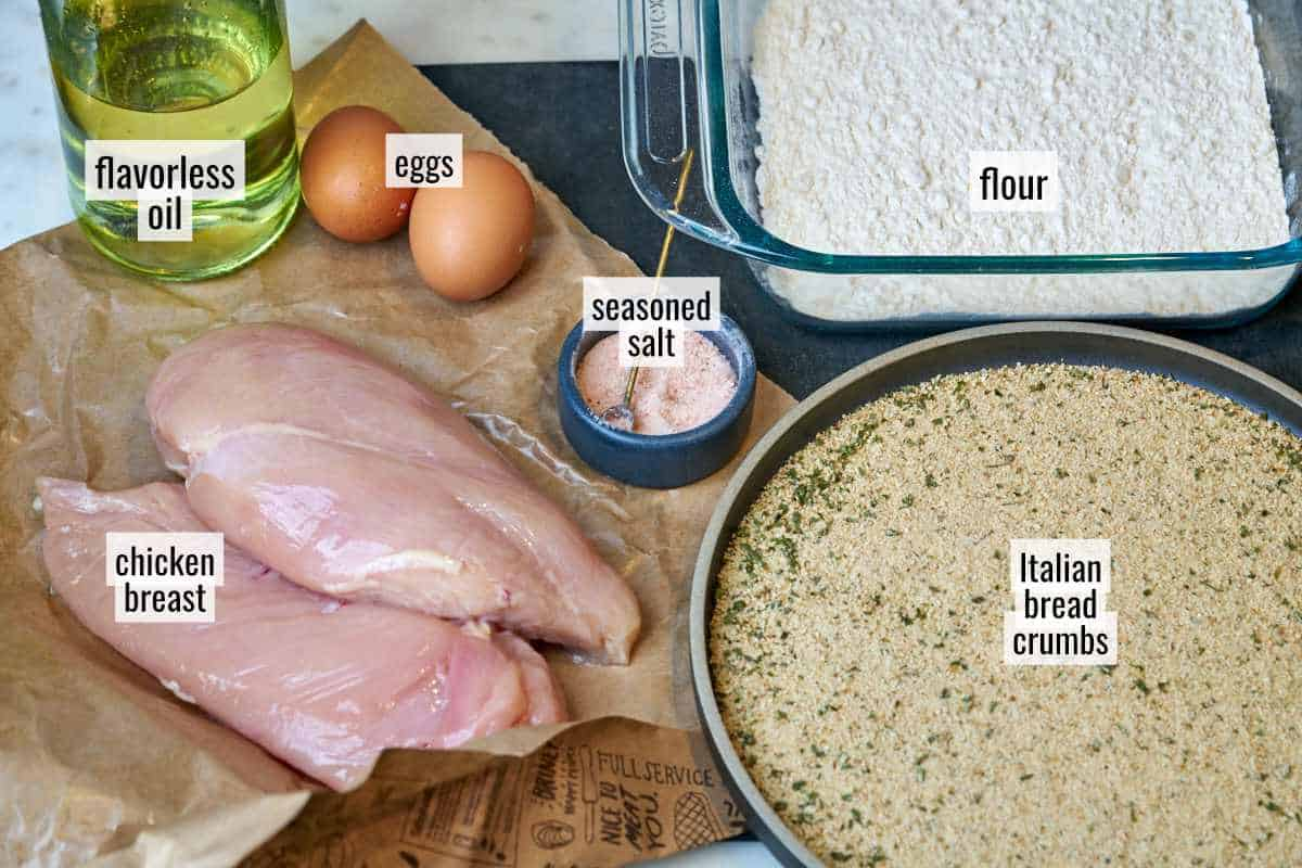 Ingredients for breaded chicken.