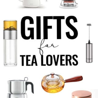 Collage of tea gifts.