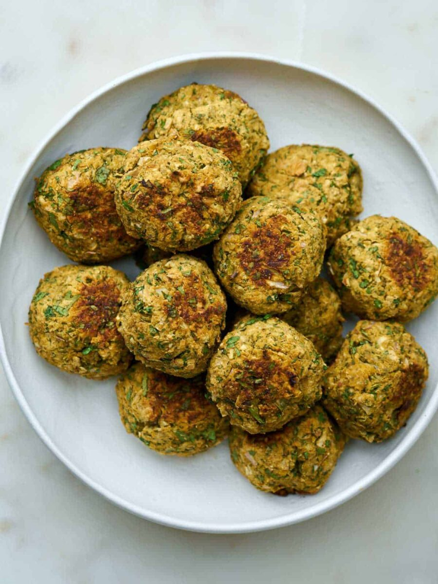 Plate filled with falafel.