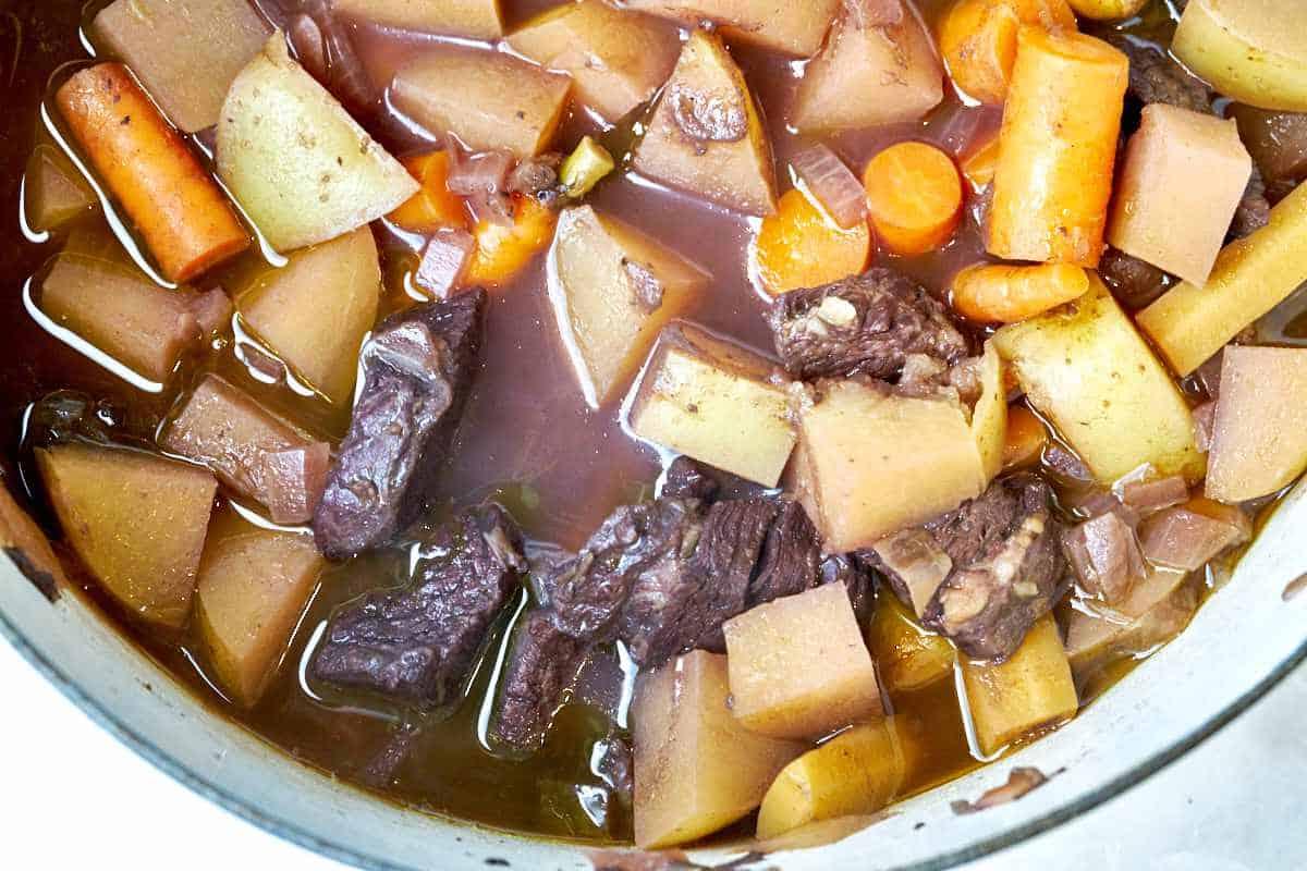 Pot of beef stew.