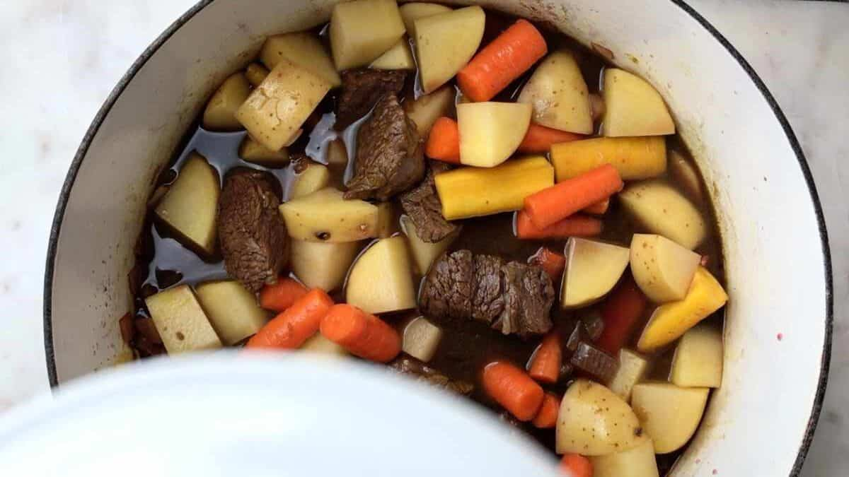 Stew with vegetables in a pot.