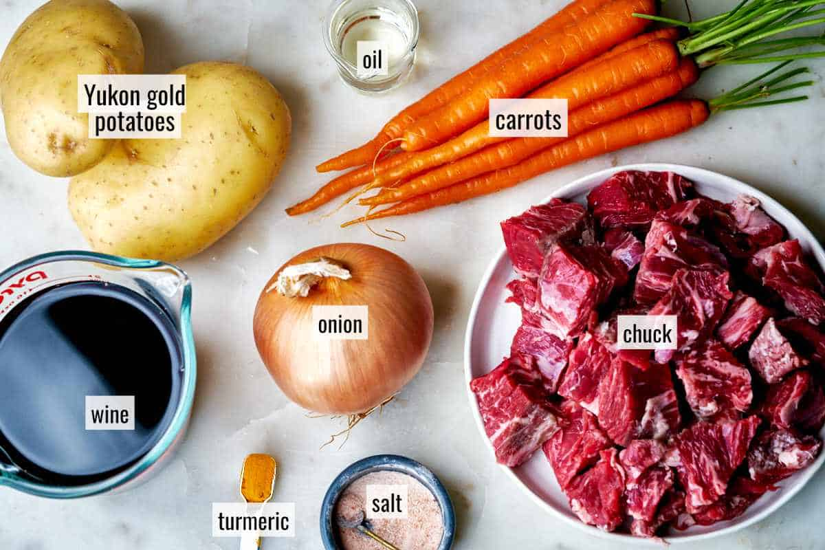 Ingredients for beef stew.
