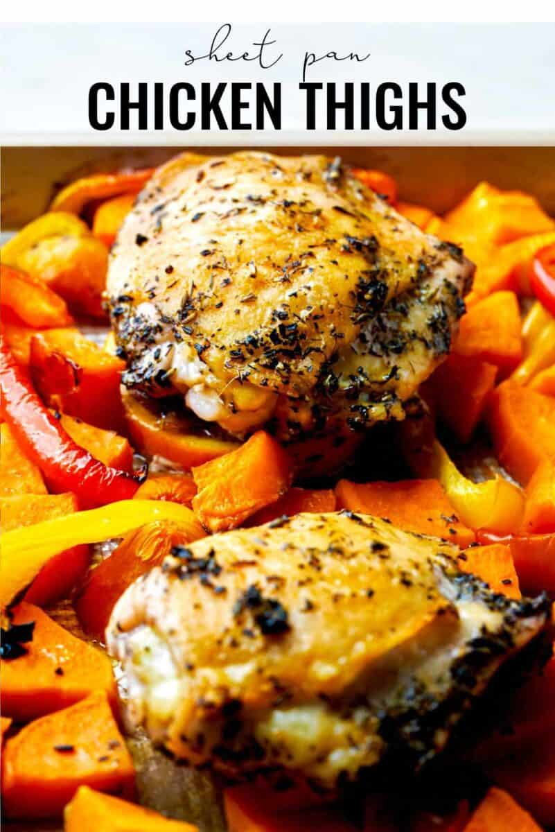 Sheet pan with chicken and vegetables.