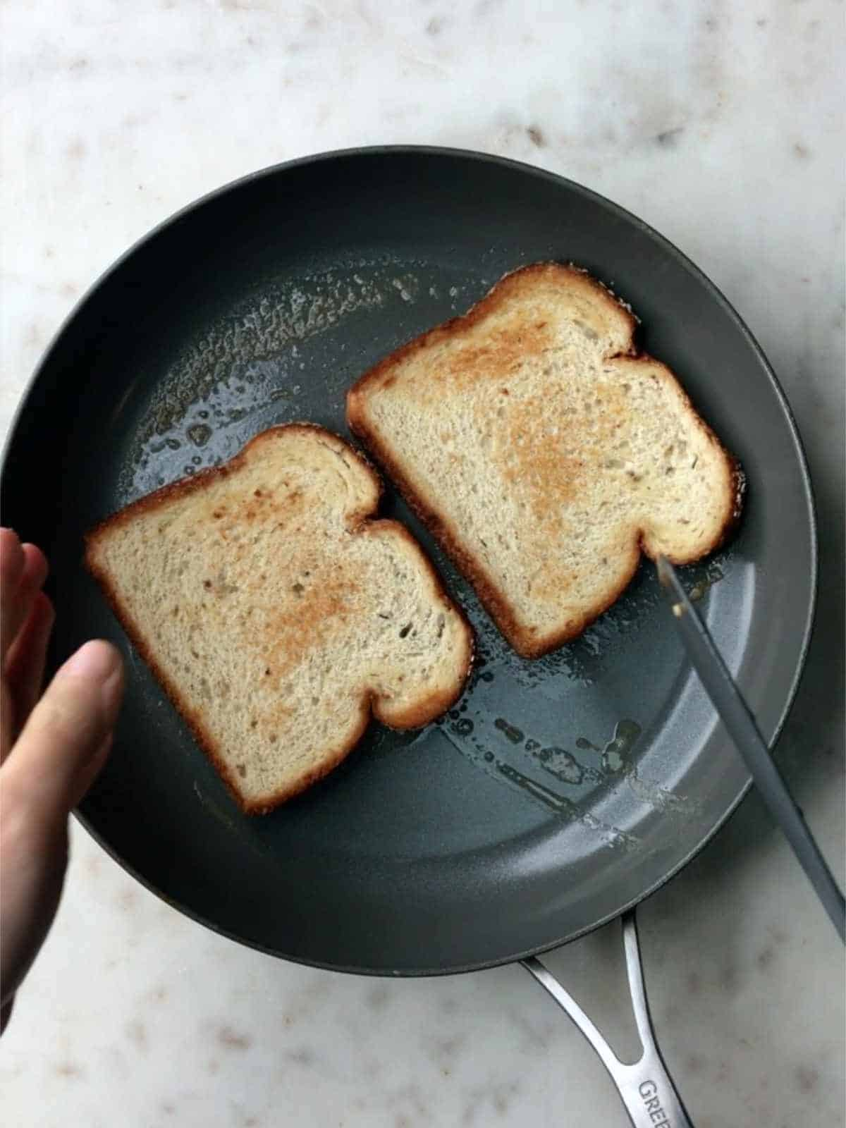 Toast in a pan.