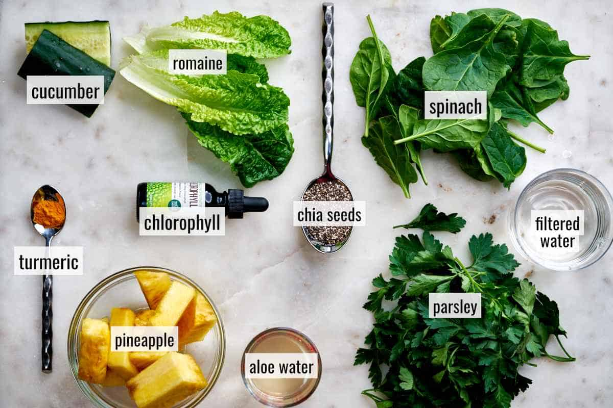 Ingredients for green juice.