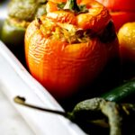 Roasted peppers stuffed with rice.