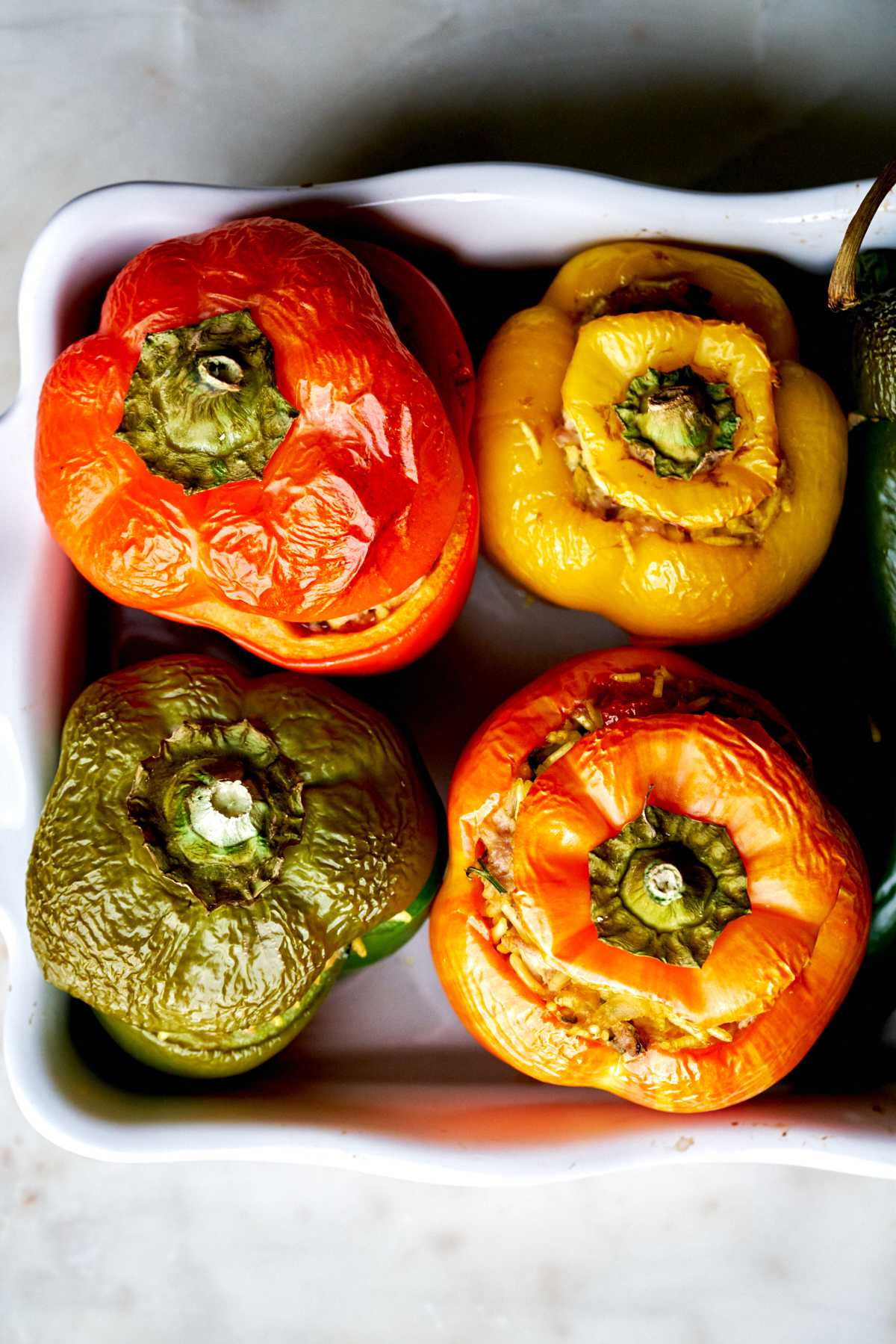 Cooked stuffed peppers.