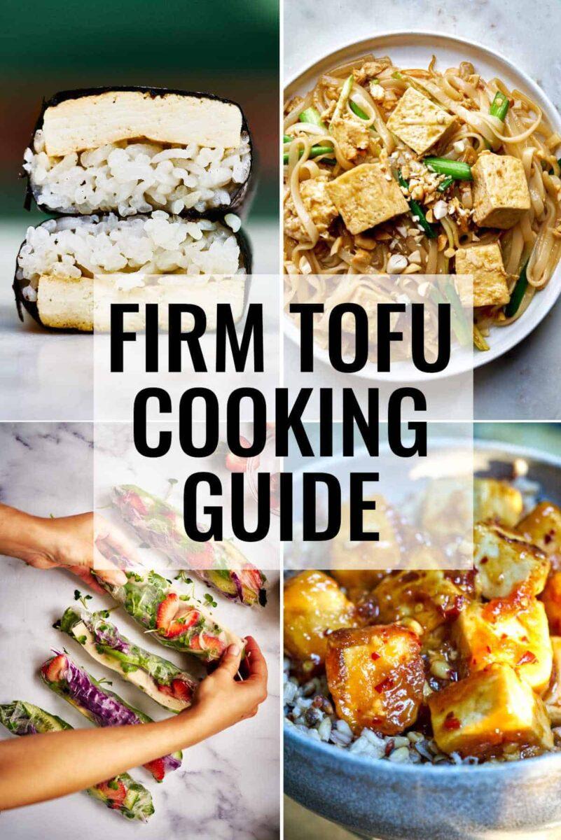 Collage of tofu recipes.