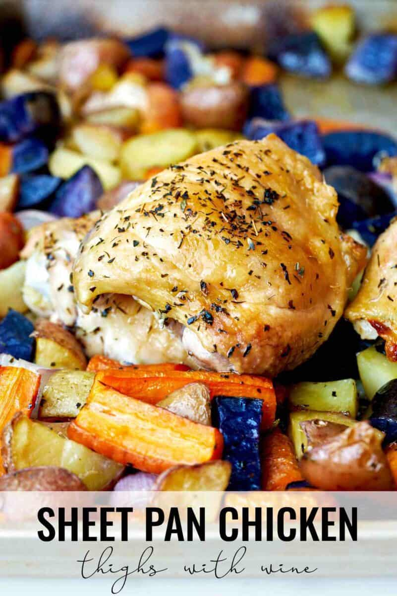 Cooked chicken thigh and root vegetables.