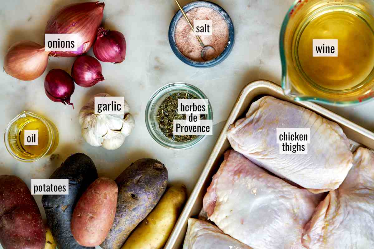 Ingredients for sheet pan chicken thighs.