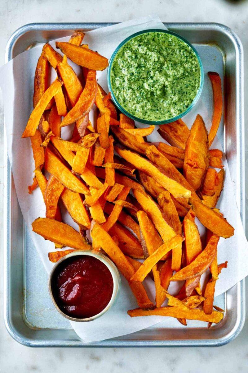Sweet potato fries on a tray.