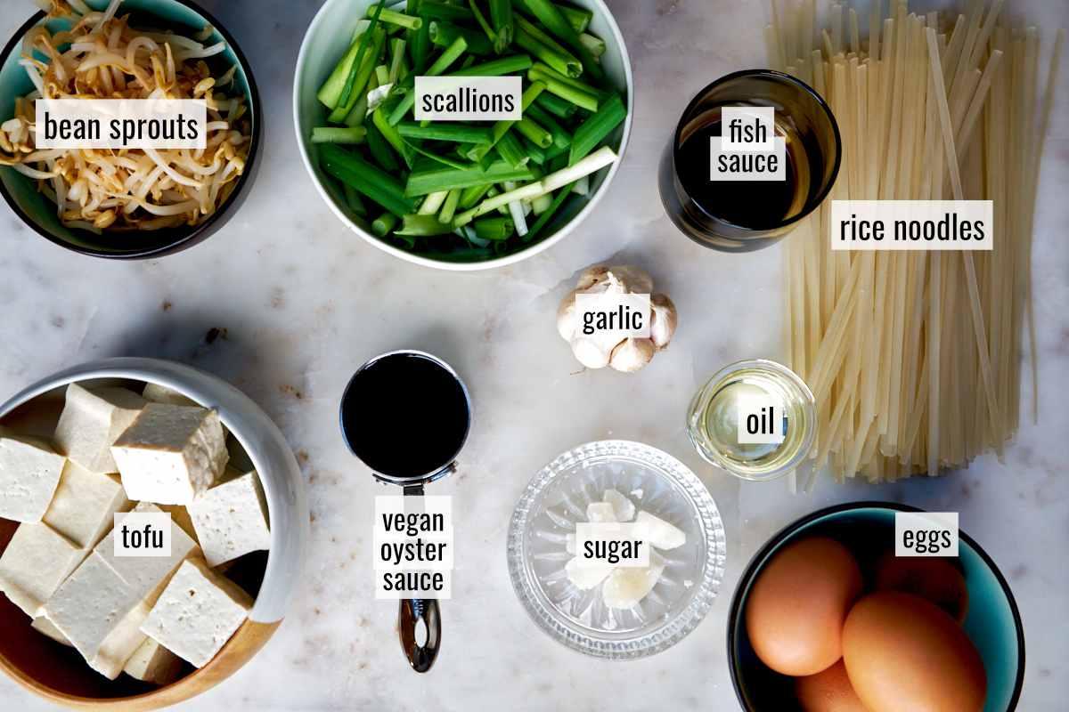 Ingredients for noodle stir fry.