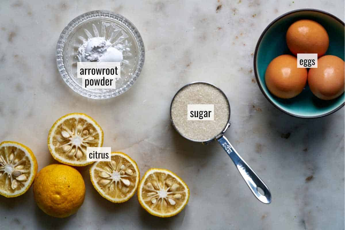 Ingredients for yuzu curd.