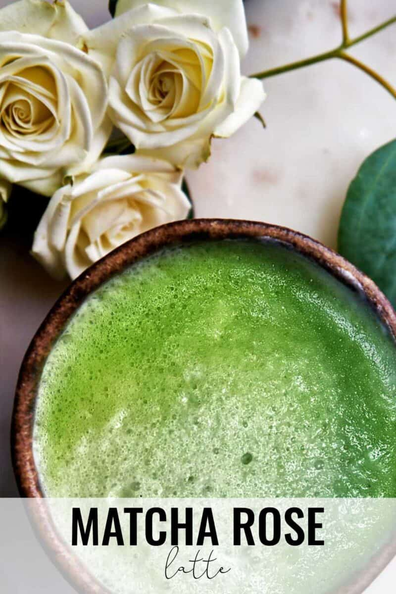 Bowl of matcha with roses.