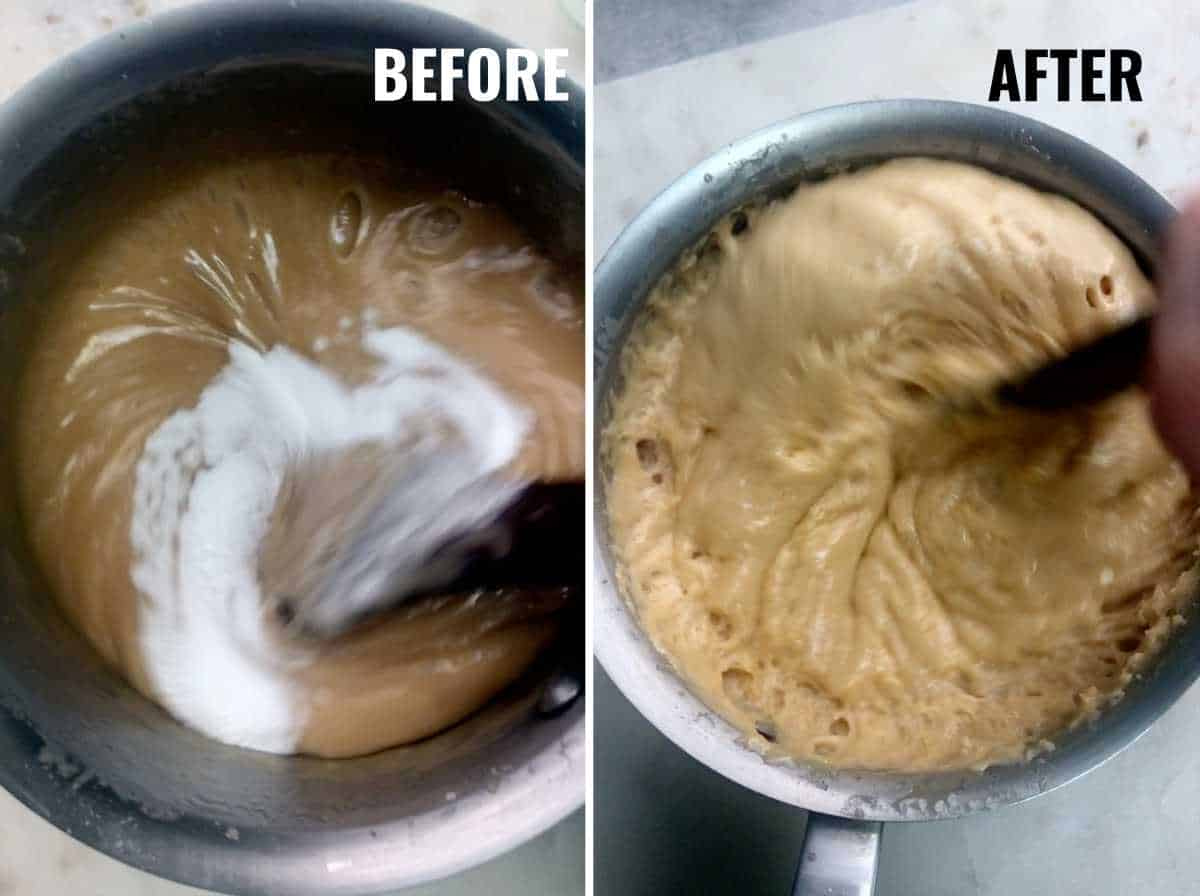 Toffee before and after you add baking soda.