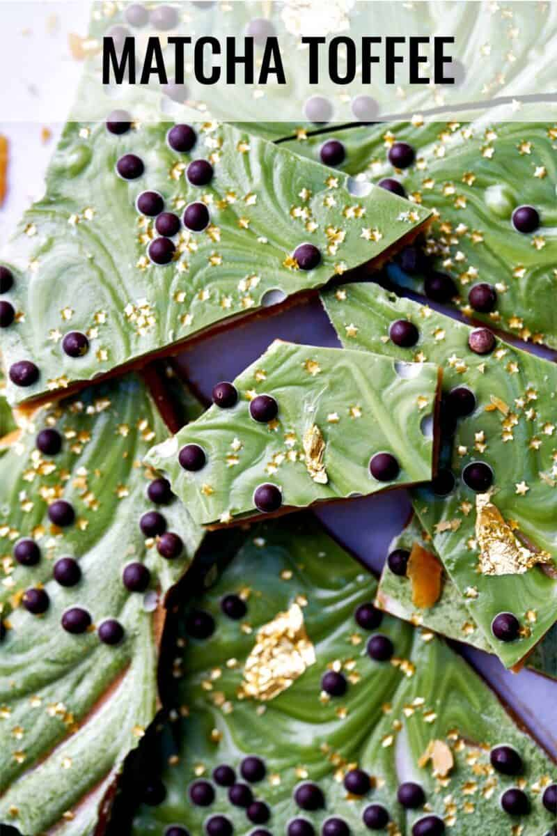 Decorated green toffee.
